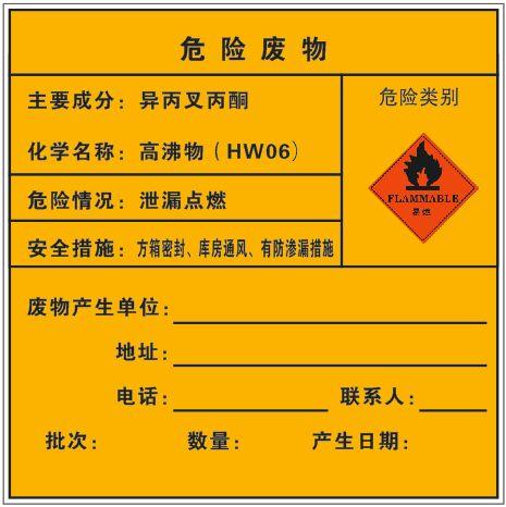 危险废物-异丙叉丙酮(车贴_200×200mm)封面