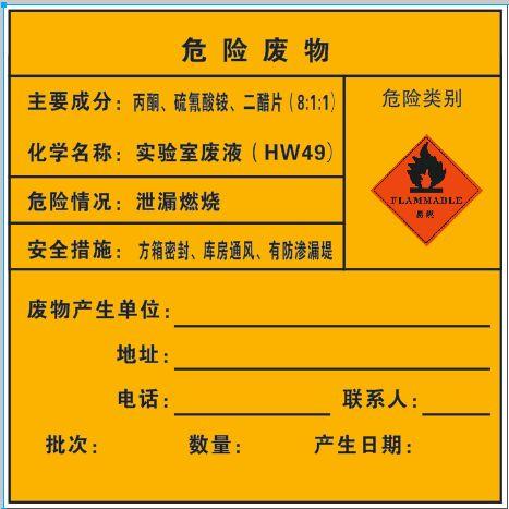 危险废物-丙酮、硫氰酸铵、二醋片(车贴_200×200mm)