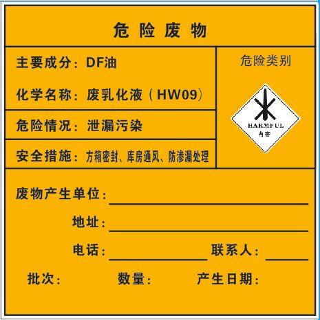 危险废物-DF油(车贴_200×200mm)