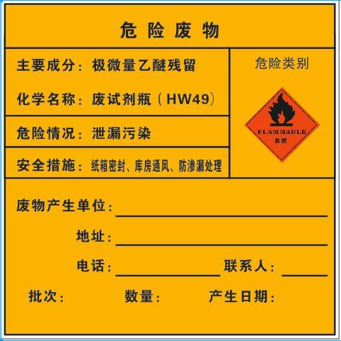 危险废物-极微量乙醚残留(车贴_200×200mm)